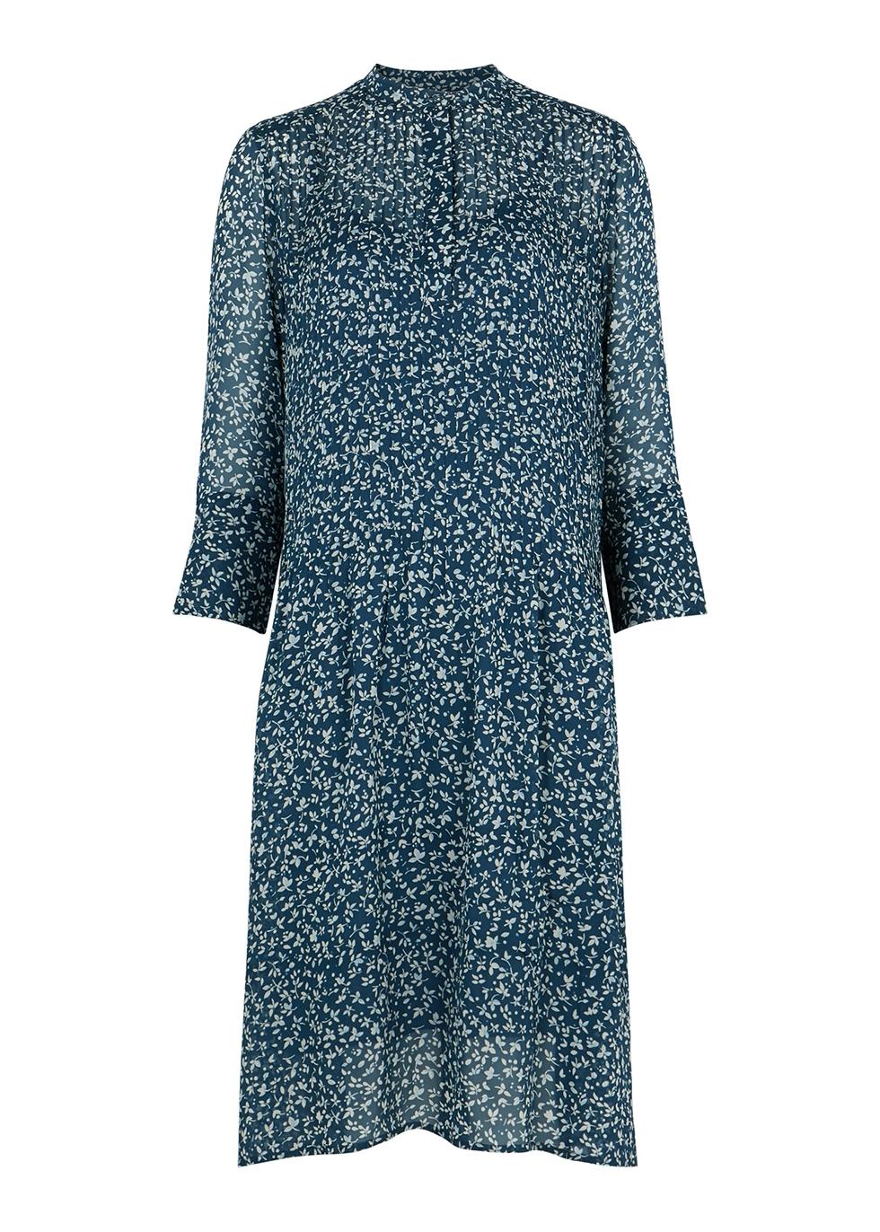 Elm floral-print chiffon shirt dress