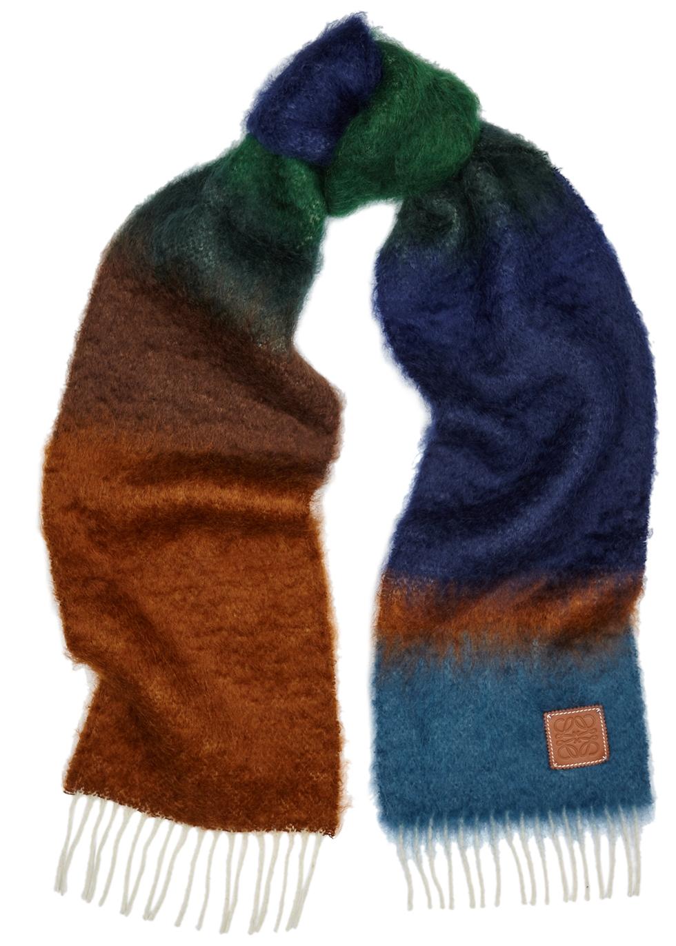 Striped mohair-blend scarf