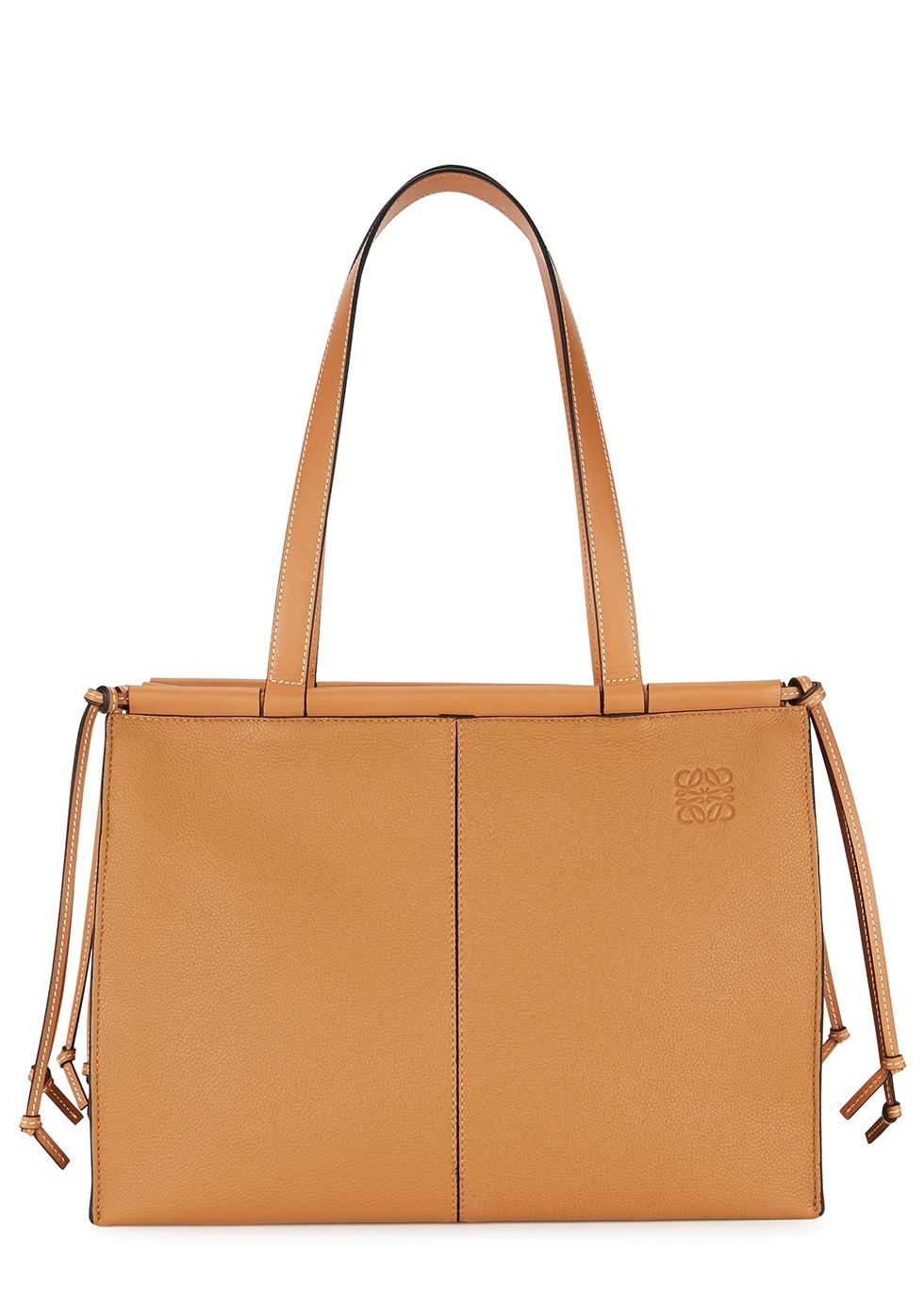 Cushion medium brown leather tote