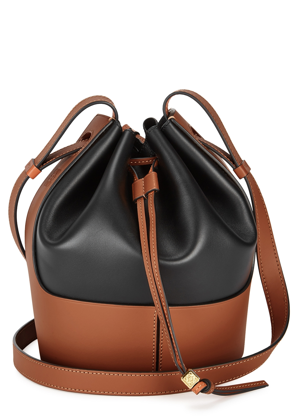 Balloon small two-tone leather bucket bag