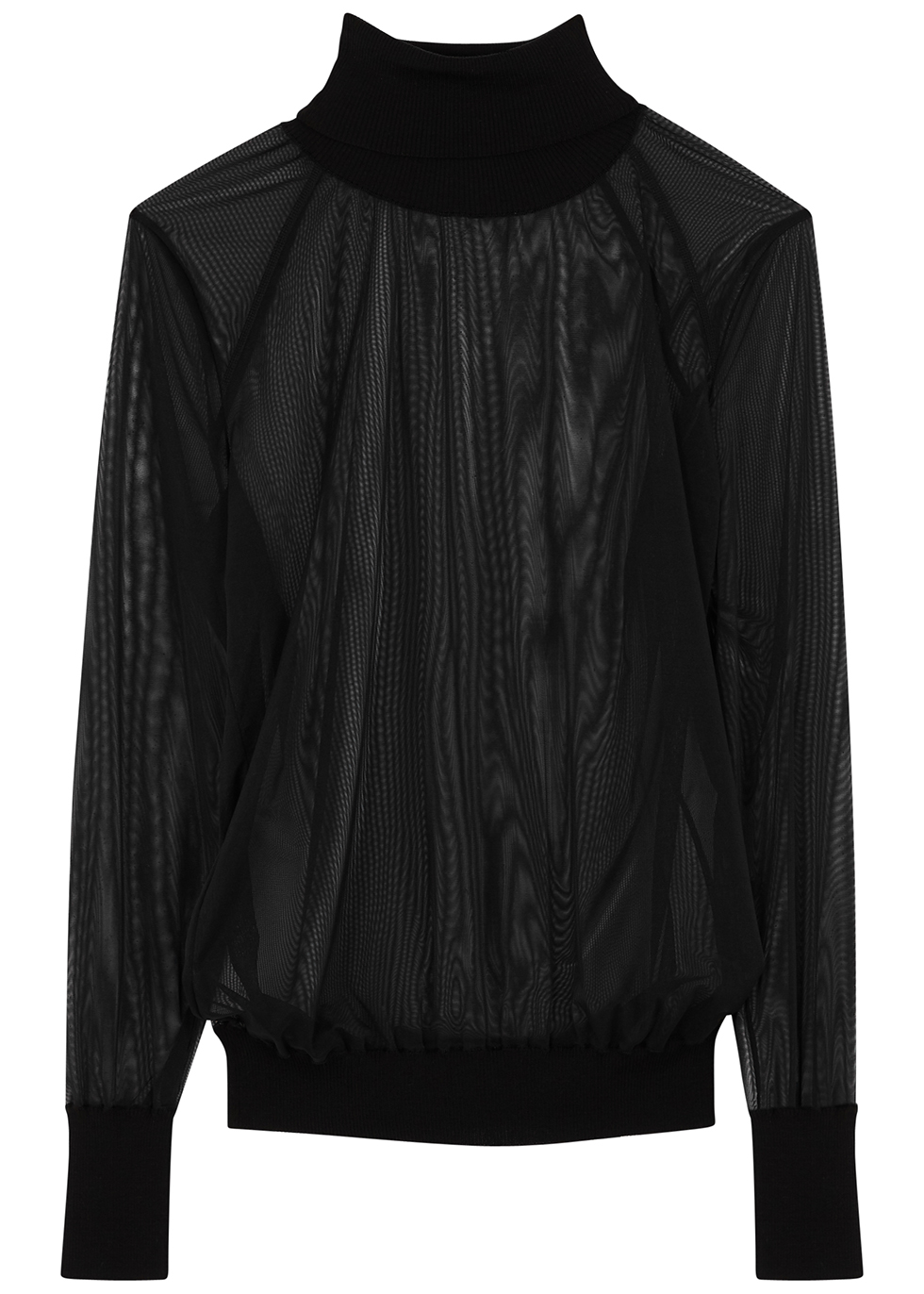 Tony black sheer stretch-tulle top