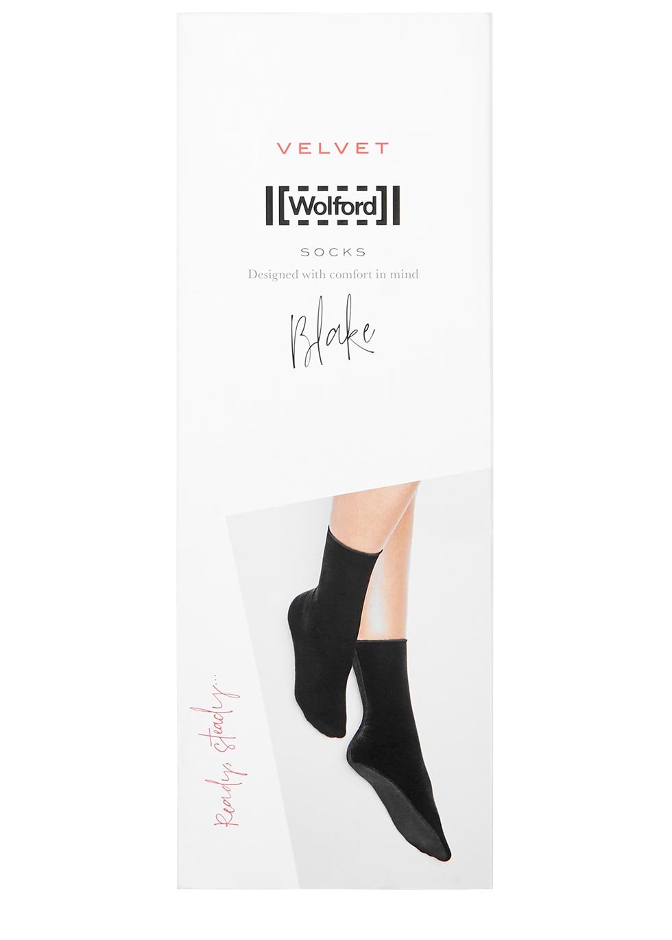 Blake black velvet socks