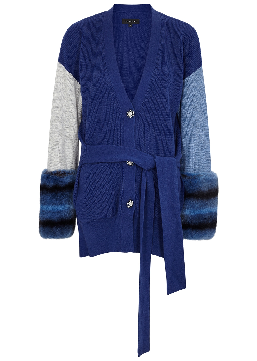 Blue fur-trimmed wool and cashmere-blend cardigan