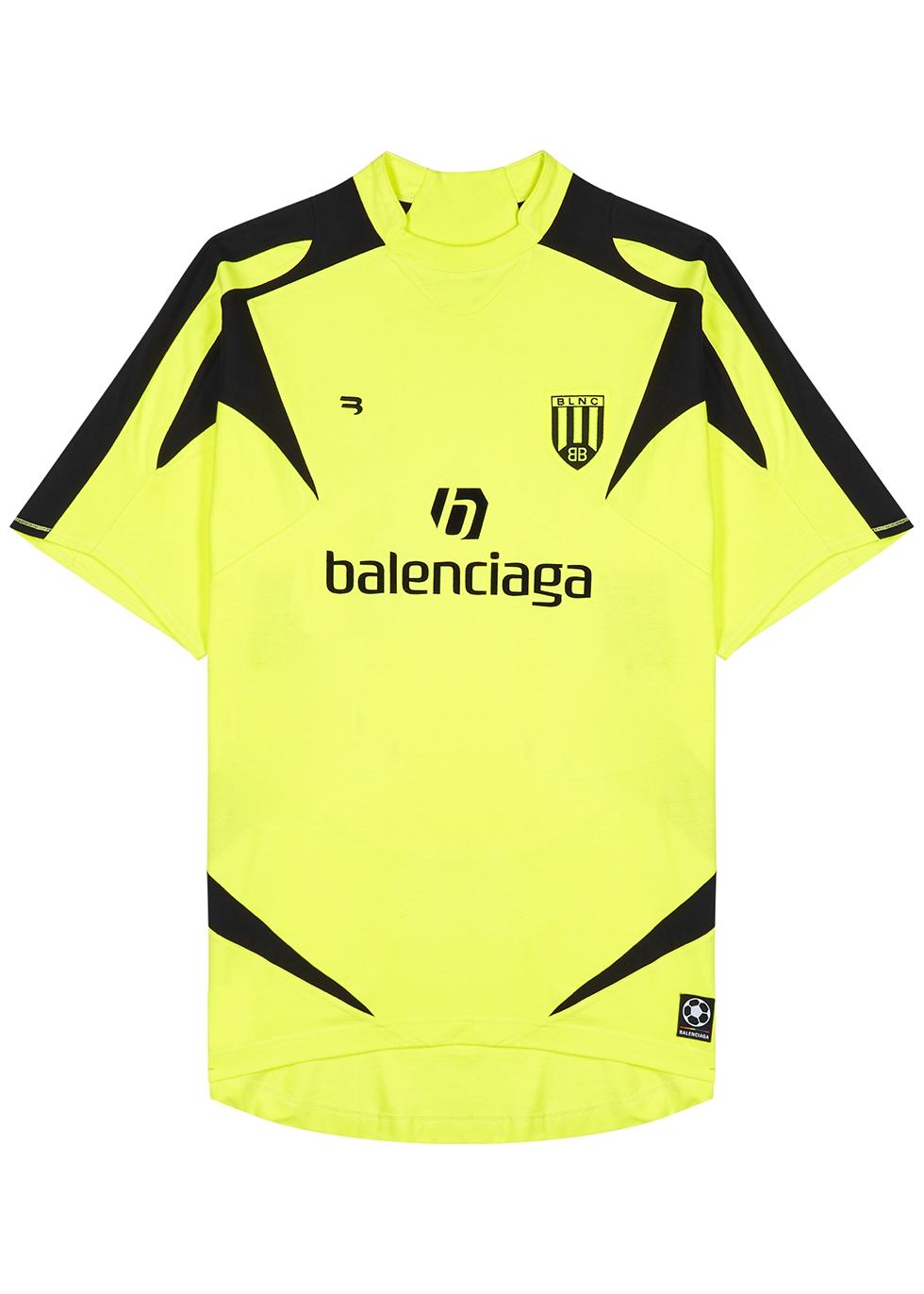 Balenciaga Neon yellow printed cotton T