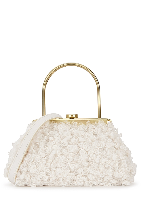 Estelle mini ivory faux shearling top handle bag - Cult Gaia