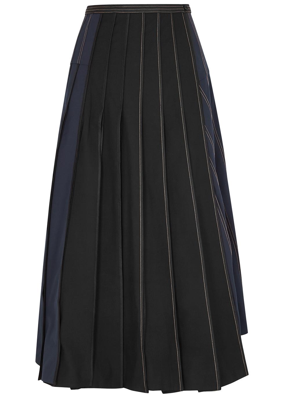 Panelled twill wrap skirt