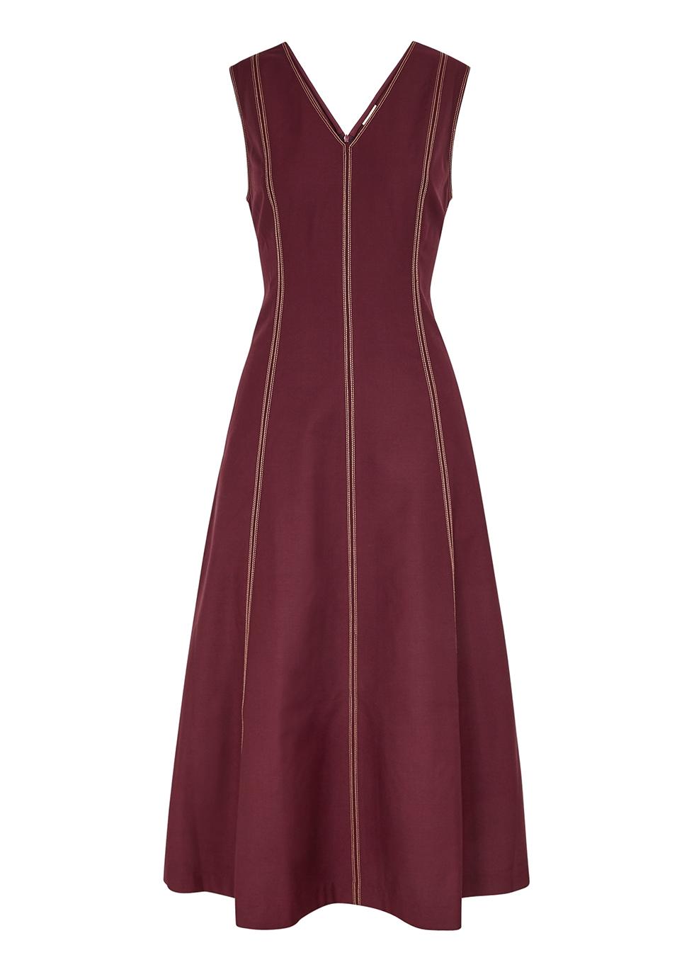 Burgundy panelled midi dress