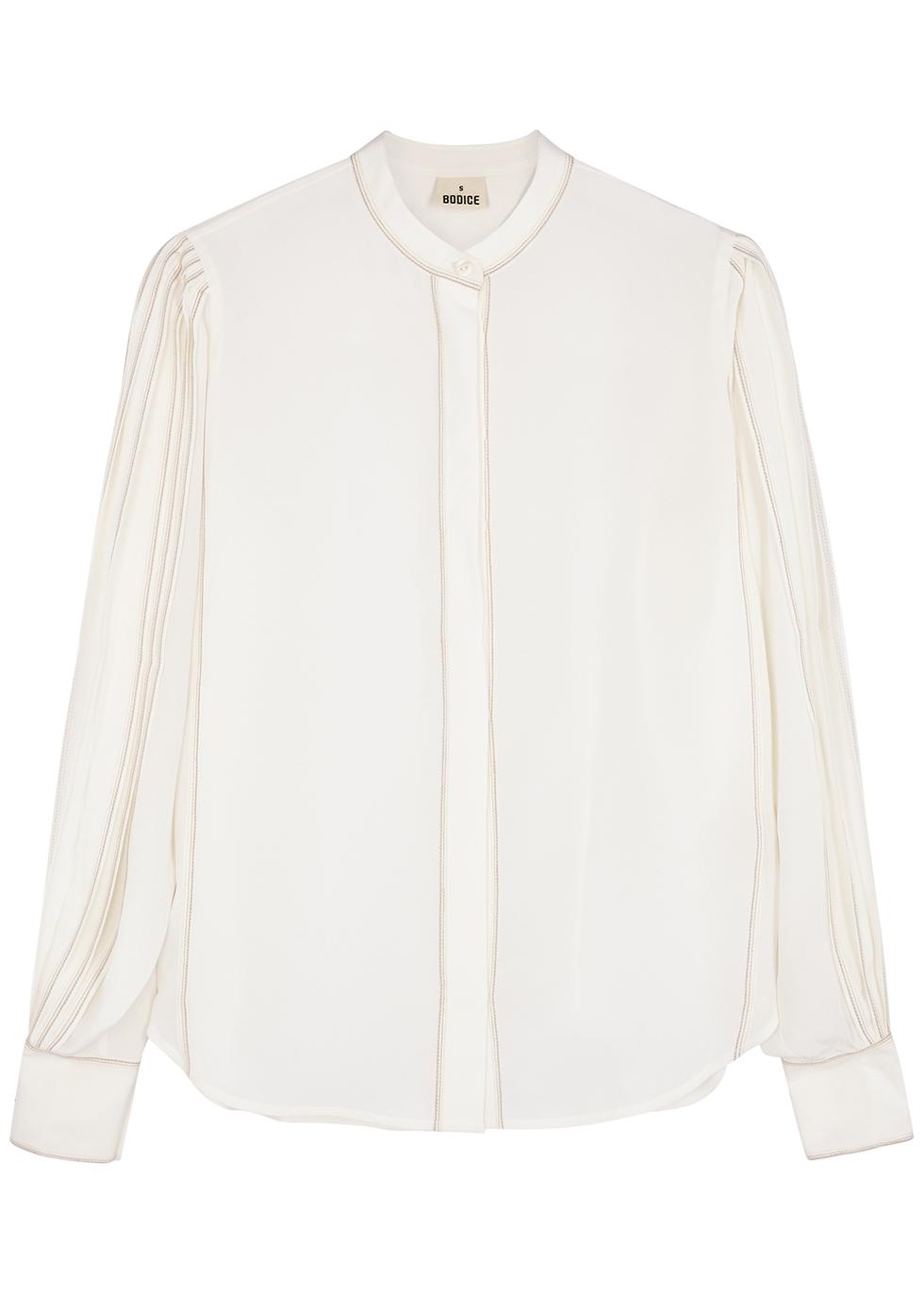 Ivory silk crepe de chine blouse