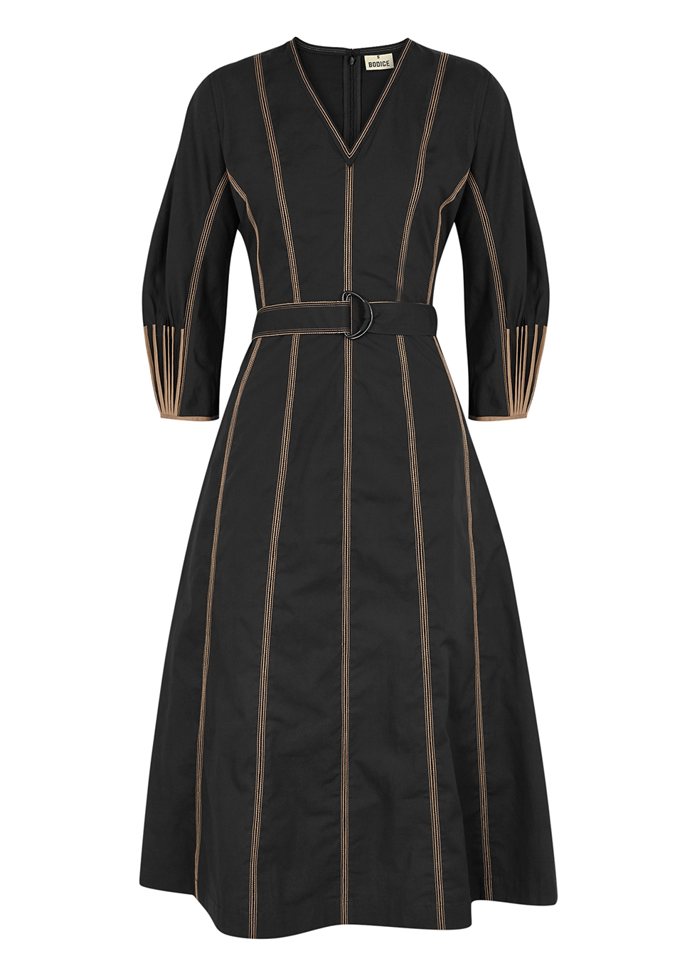 Black cotton midi dress