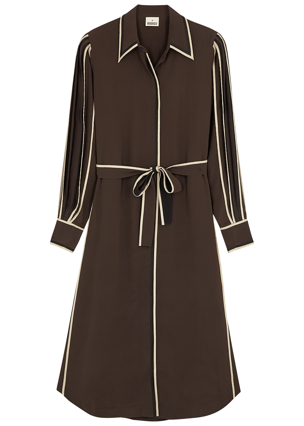 Brown silk crepe de chine shirt dress