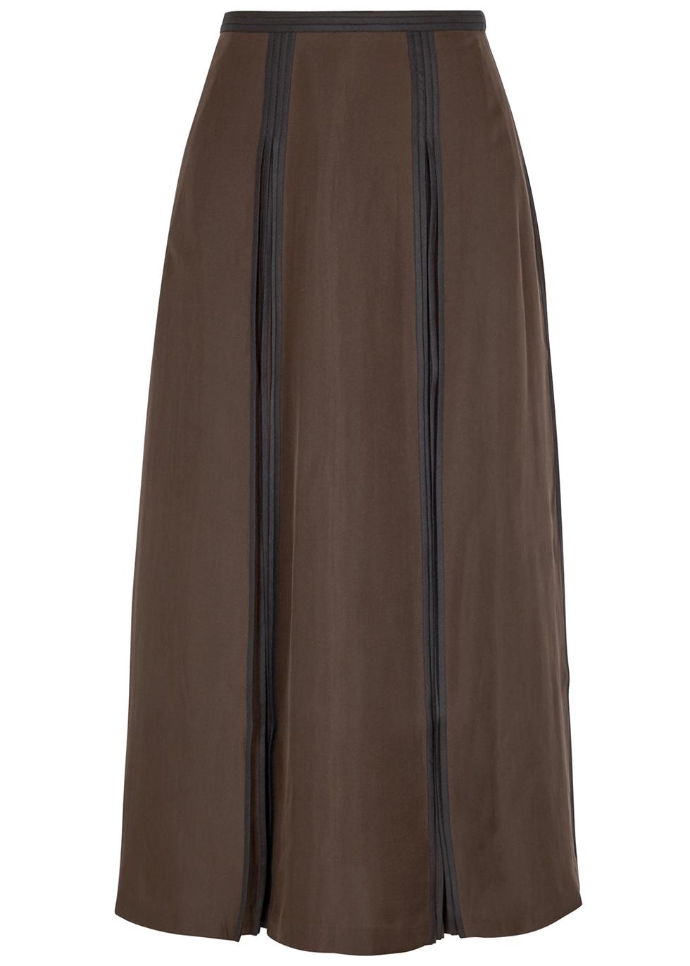 Brown pleated silk midi skirt