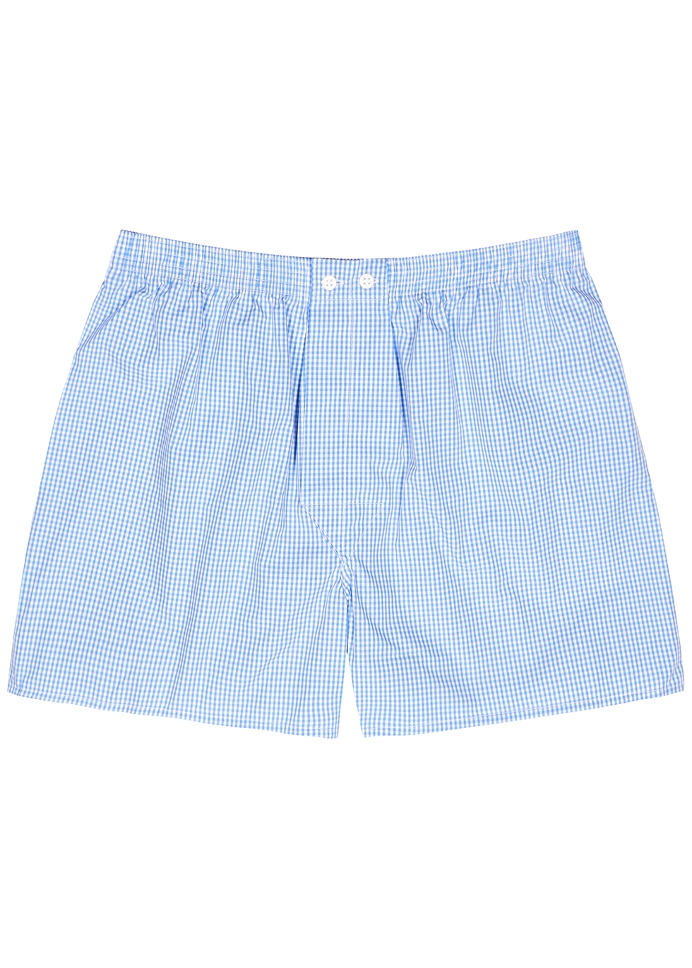Gingham 1 blue cotton boxer shorts