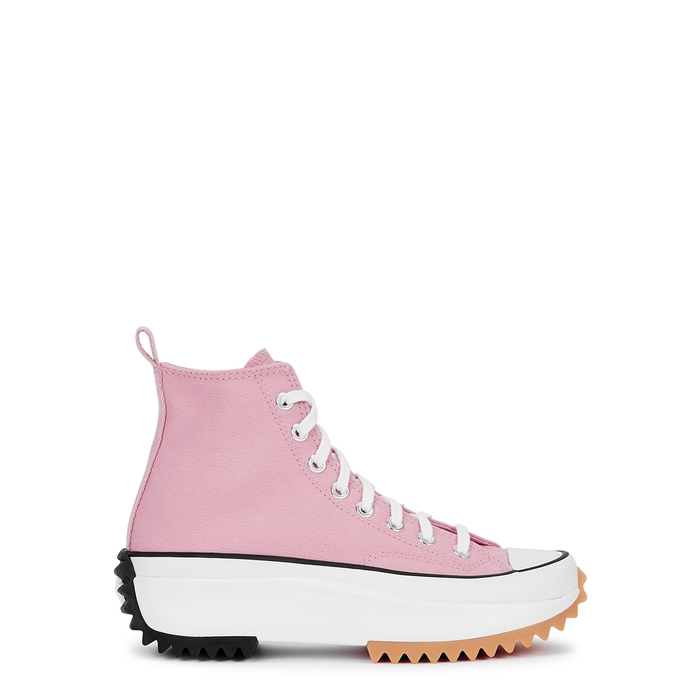 Converse RUN STAR HIKE PINK CANVAS HI-TOP SNEAKERS