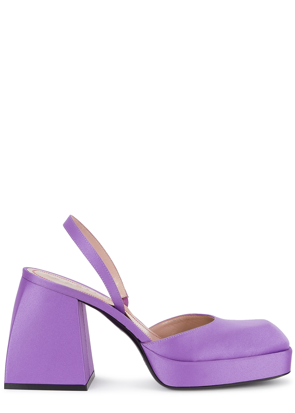 Bulla Jones 85 purple satin slingback pumps