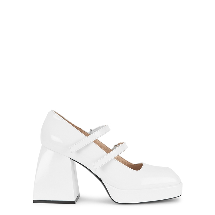 Nodaleto BULLA BABIES 85 WHITE PATENT LEATHER PUMPS