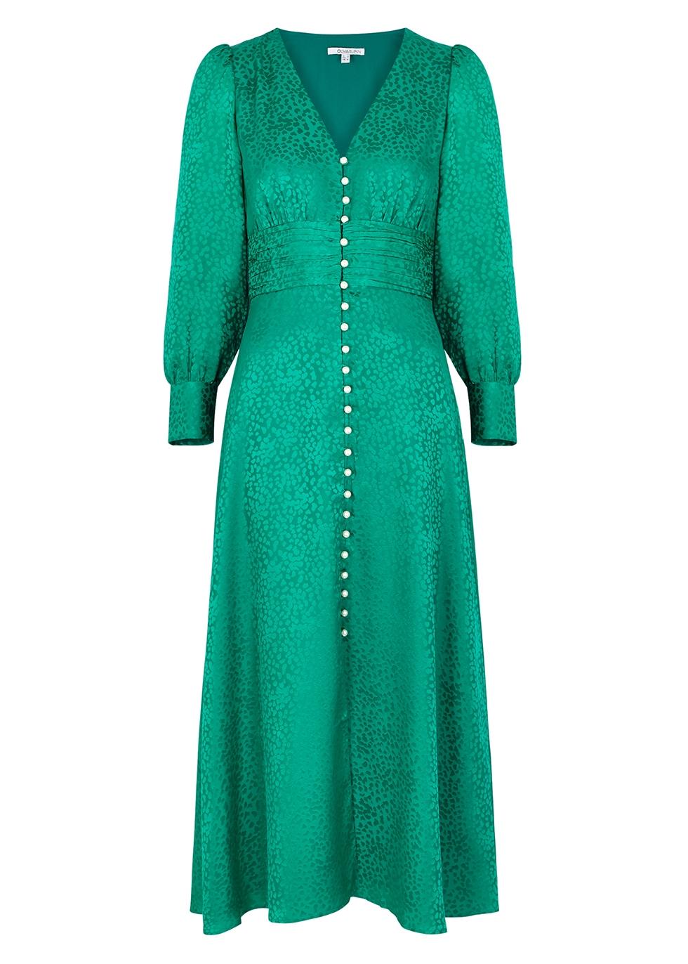 Valentina green jacquard silk midi dress