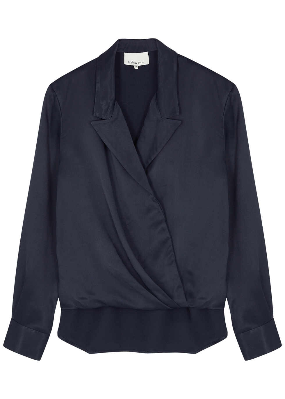 Navy wrap-effect satin blouse