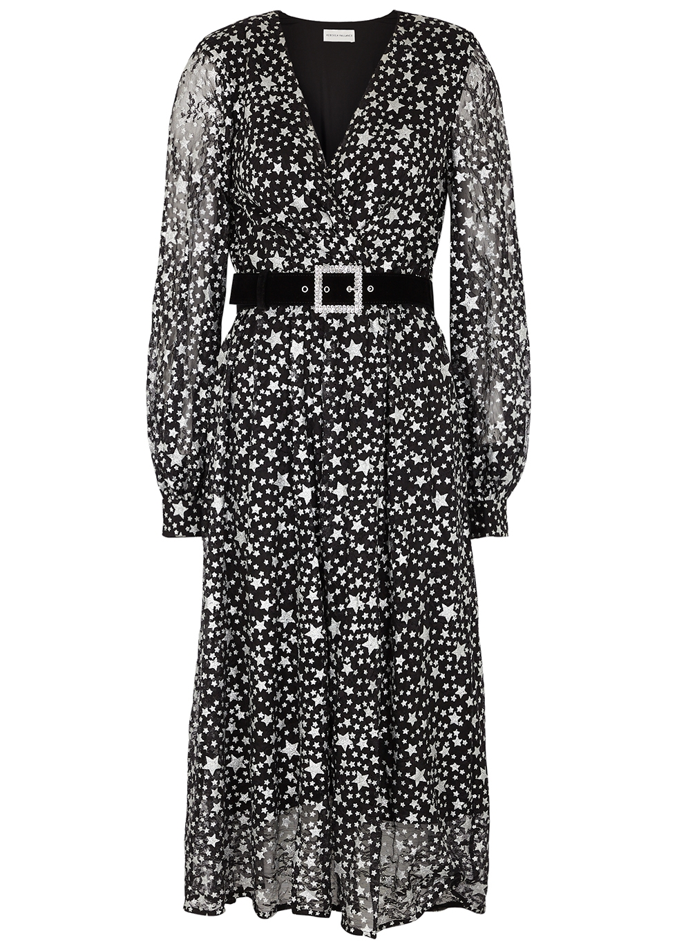 Notte star-print belted lace midi dress
