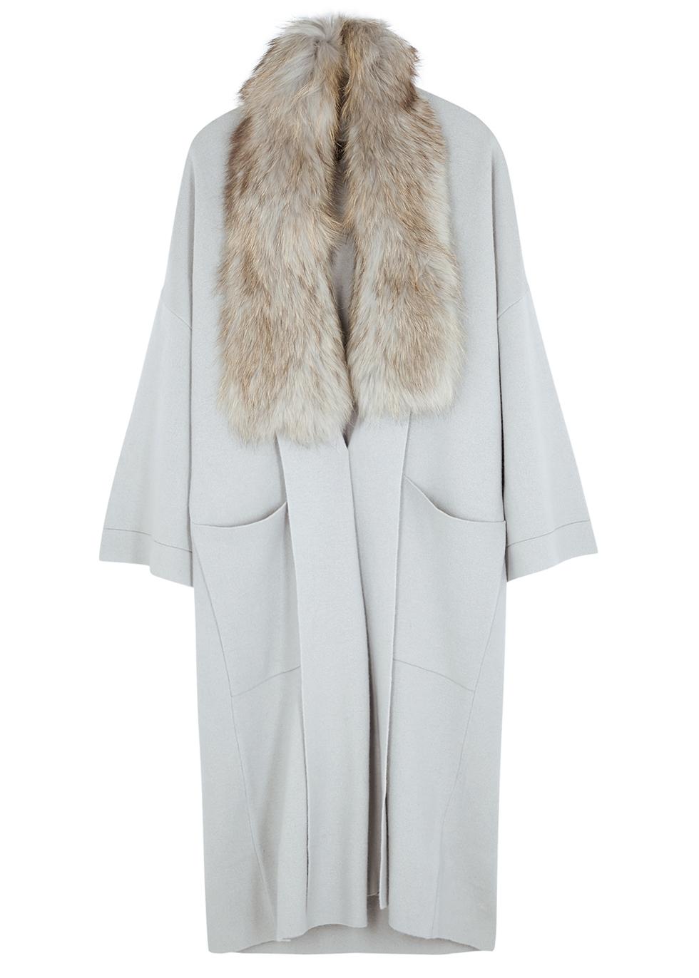 Fur-trimmed merino wool-blend cardigan