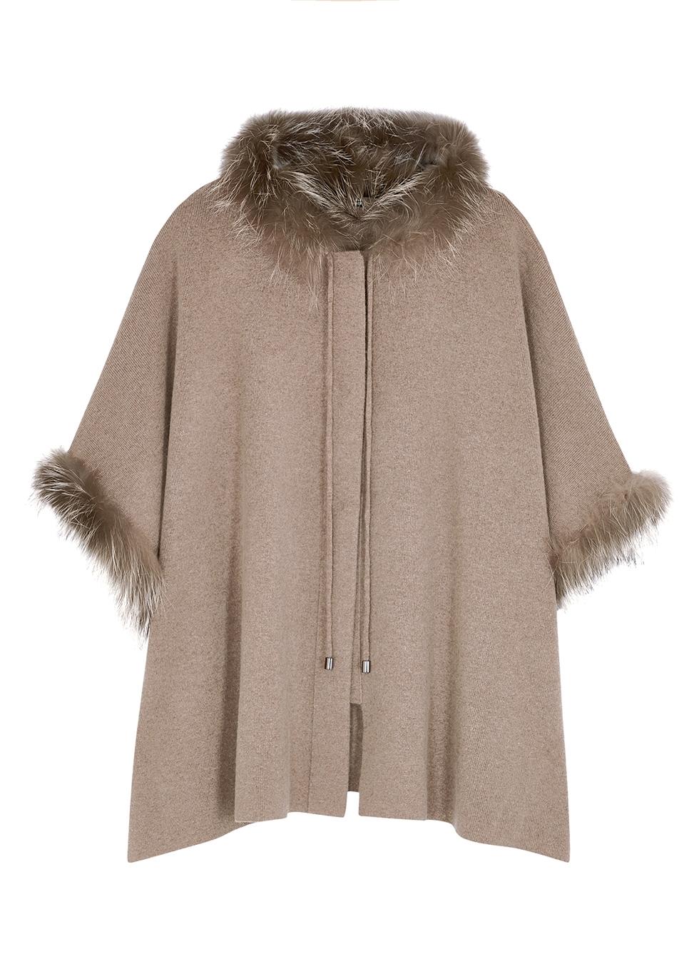 Brown fur-trimmed merino wool-blend poncho