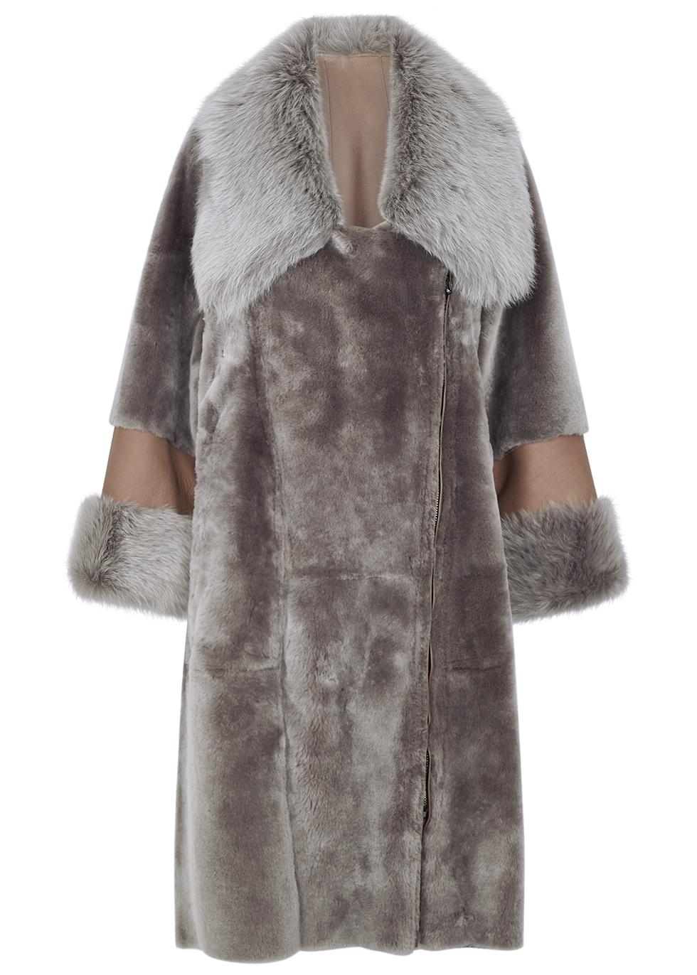 Grey reversible sheepskin coat
