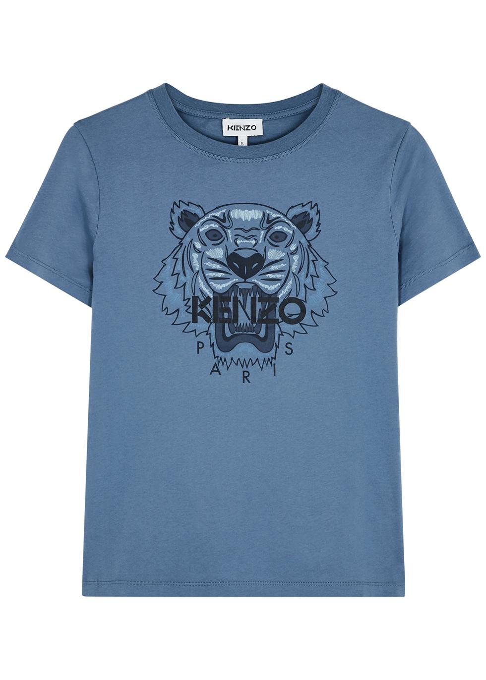 Blue tiger-print cotton T-shirt