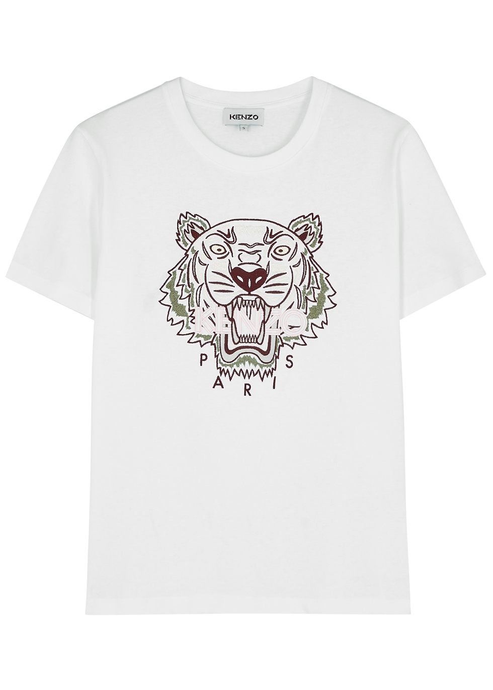 Kenzo WHITE TIGER-EMBROIDERED COTTON T-SHIRT
