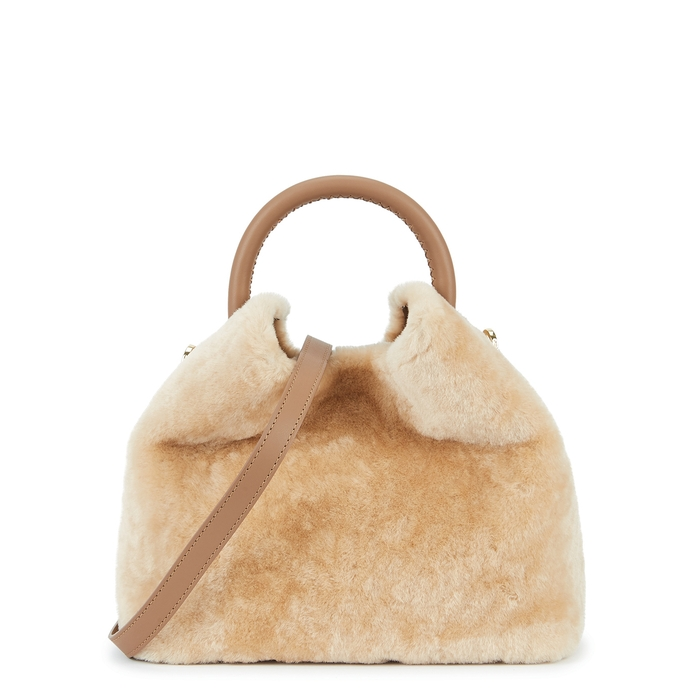 Elleme Baozi Shearling And Leather Cross-body Bag In Cream