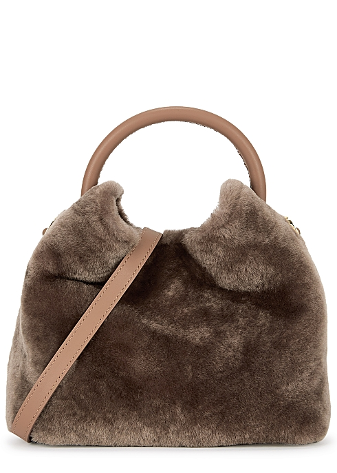 Baozi shearling and leather cross-body bag - ELLEME