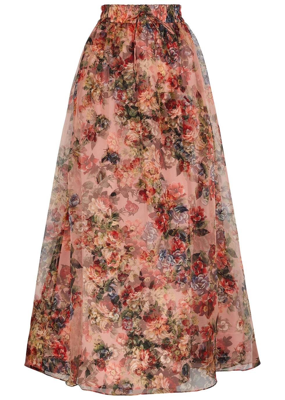 Dixie floral-print silk-organza maxi skirt