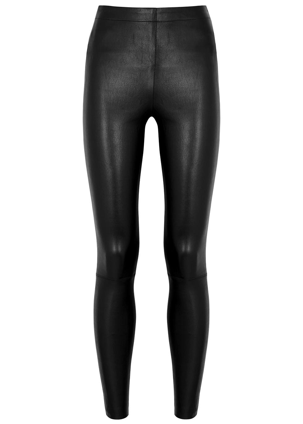 Maddox black leather leggings