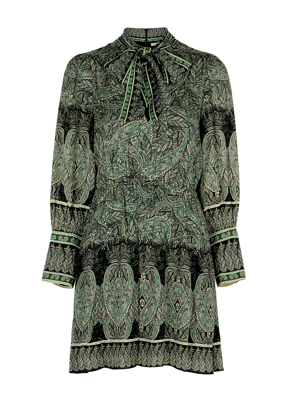 Tanisha green paisley-print mini dress