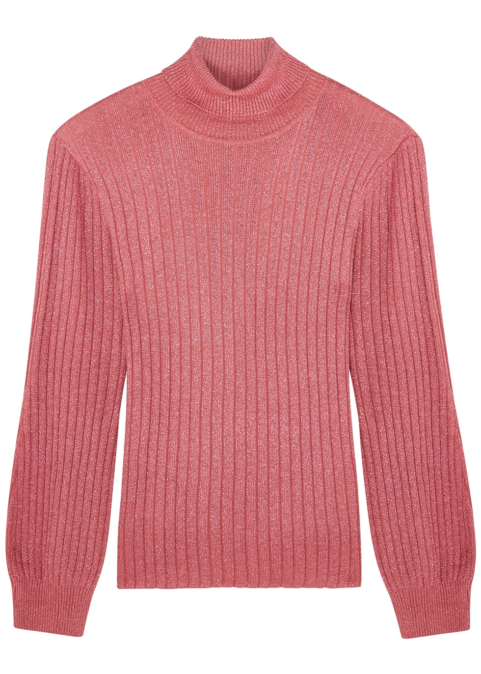 Rumer metallic-weave ribbed-knit jumper