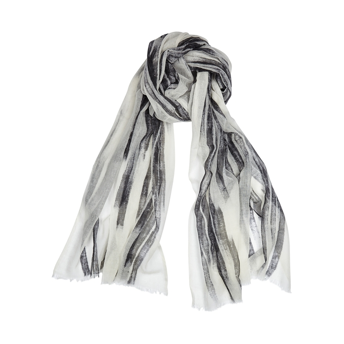 Eileen Fisher Printed Wool-gauze Scarf In Black And White