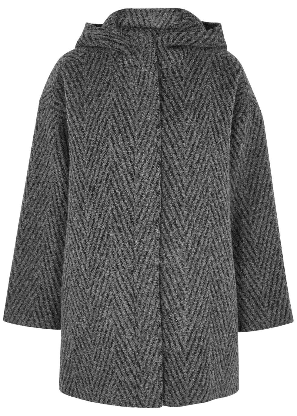 Grey bouclé alpaca and wool-blend coat
