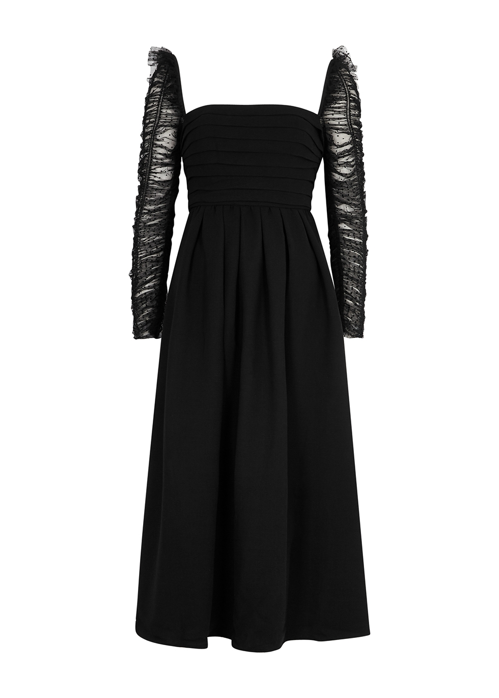 Black crepe and point d'esprit midi dress