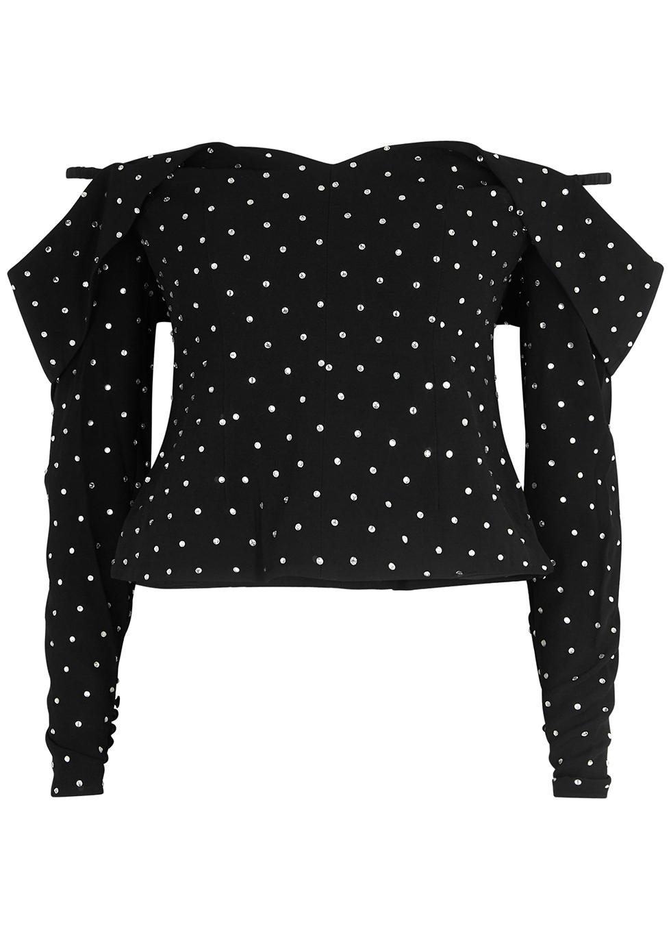 Black embellished off-the-shoulder top