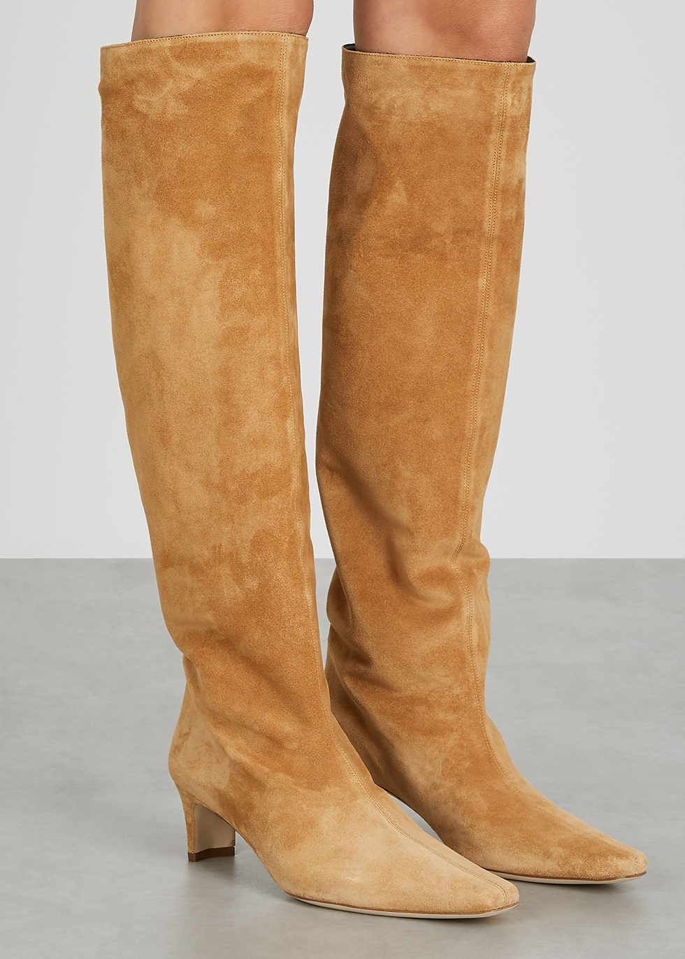 STAUD Wally camel suede knee-high boots