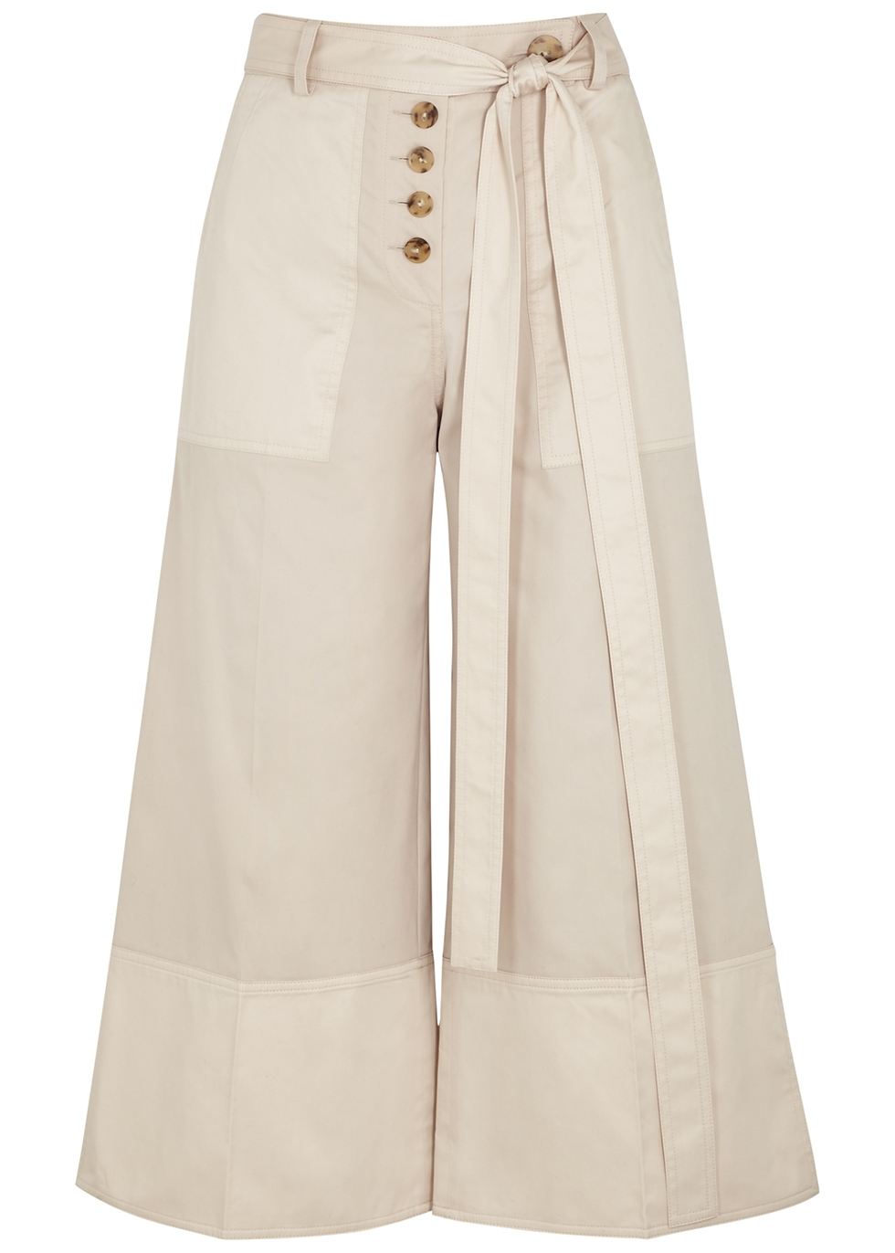 Nell cropped wide-leg twill trousers