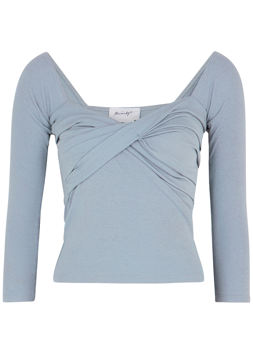 Stevie duck egg blue stretch-jersey top
