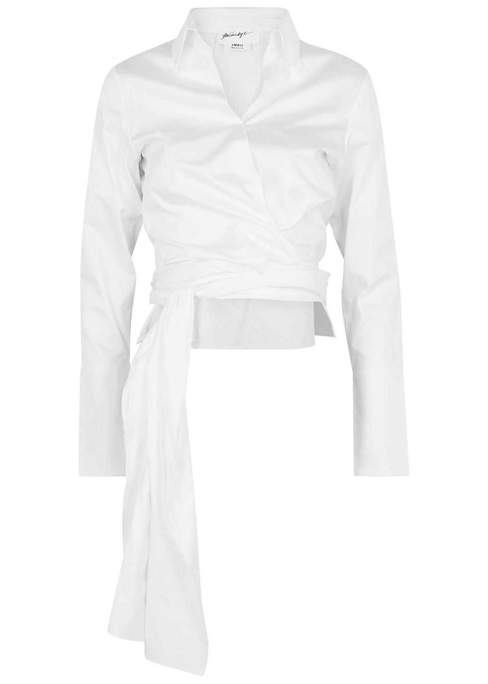Jett white poplin wrap shirt