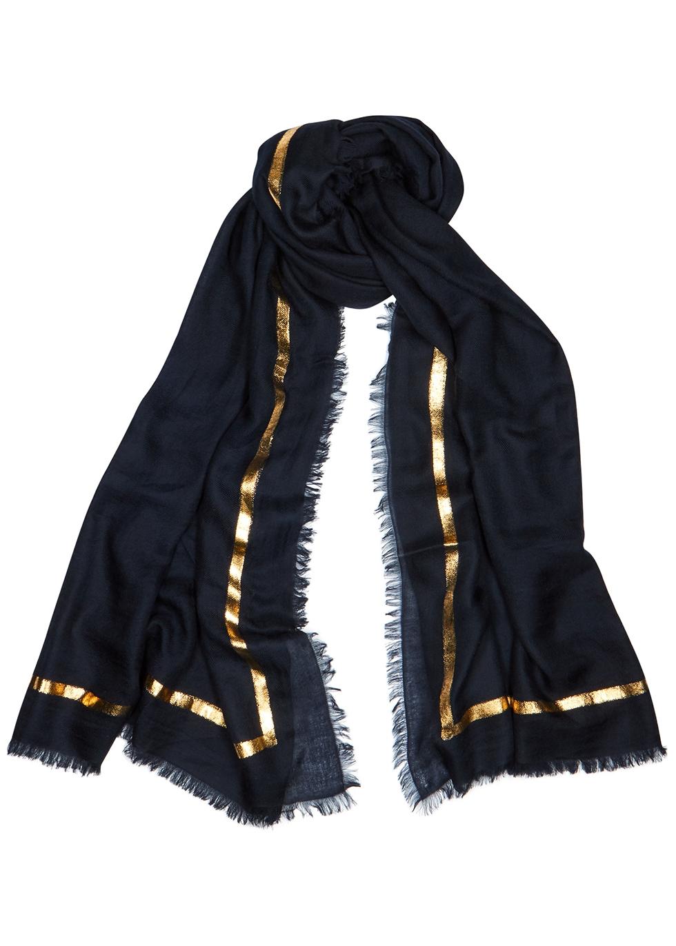 Righino foil-print cashmere scarf