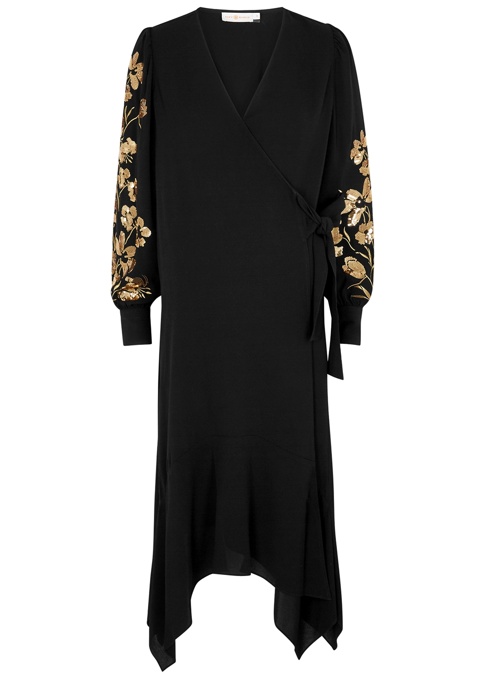 Black embellished wrap dress