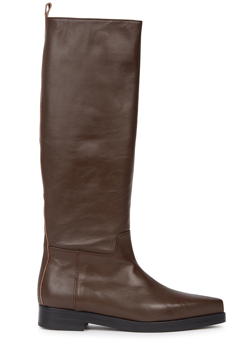 Western brown leather knee-high boots