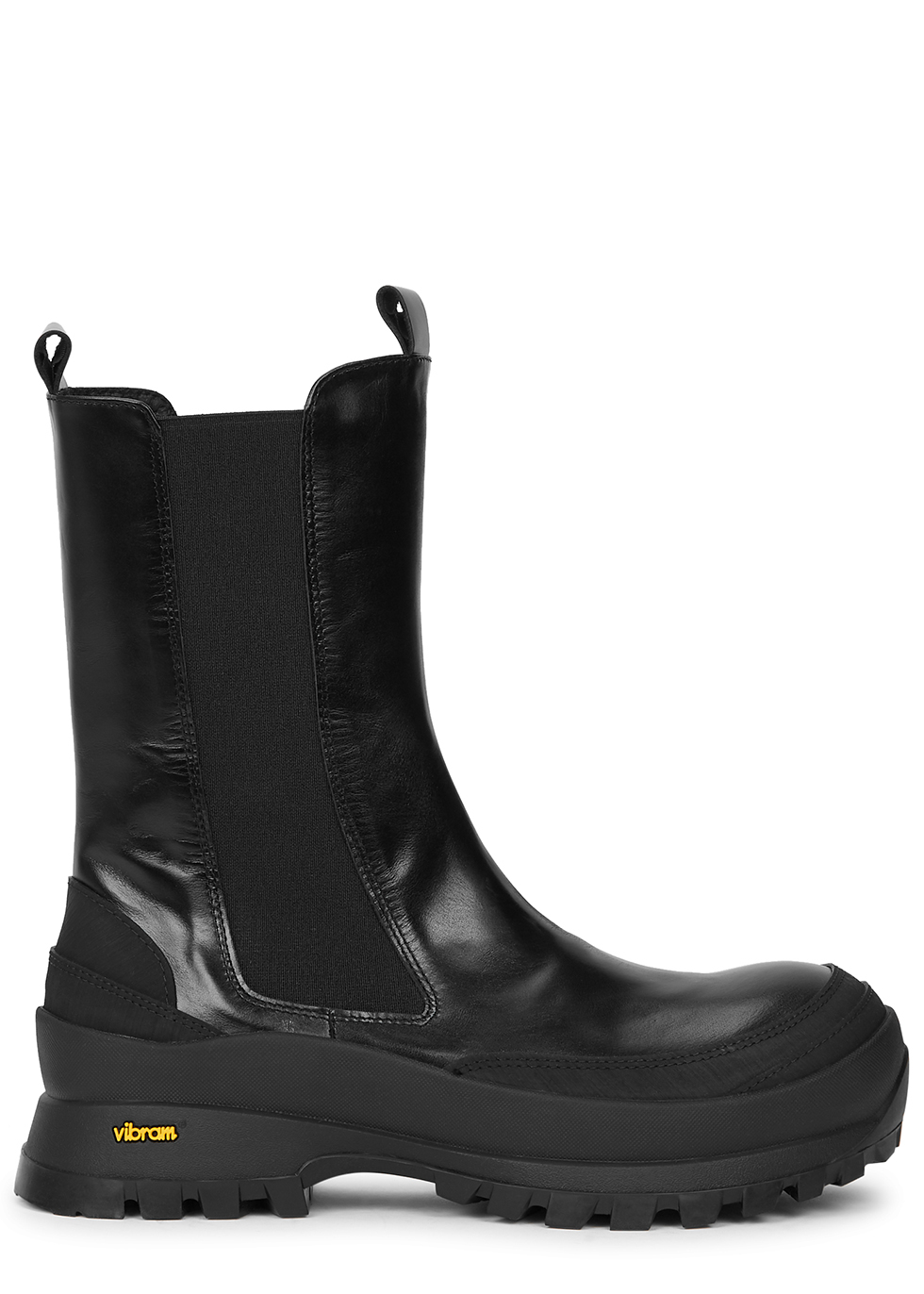 Chubby black leather Chelsea boots