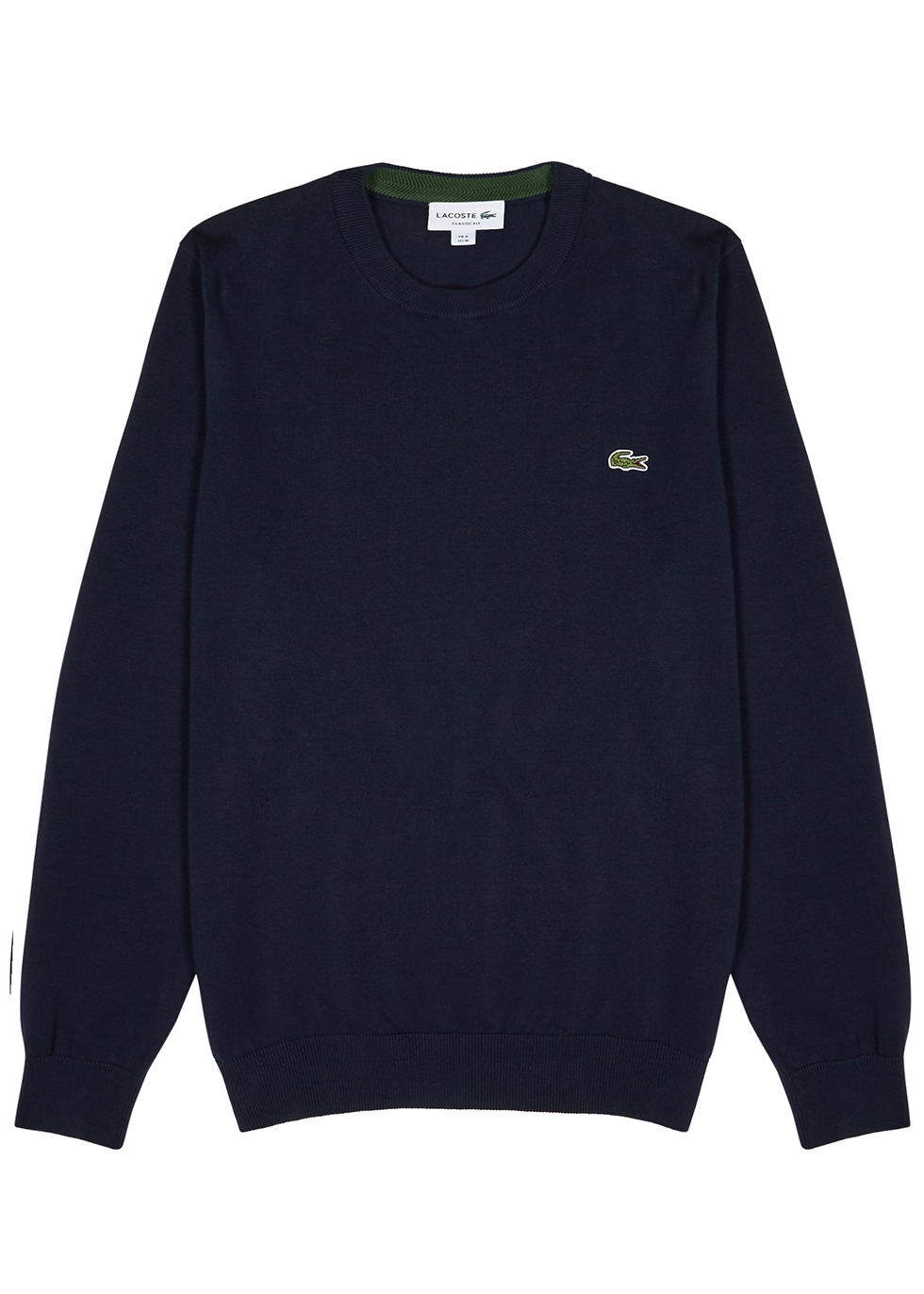 Navy knitted cotton jumper