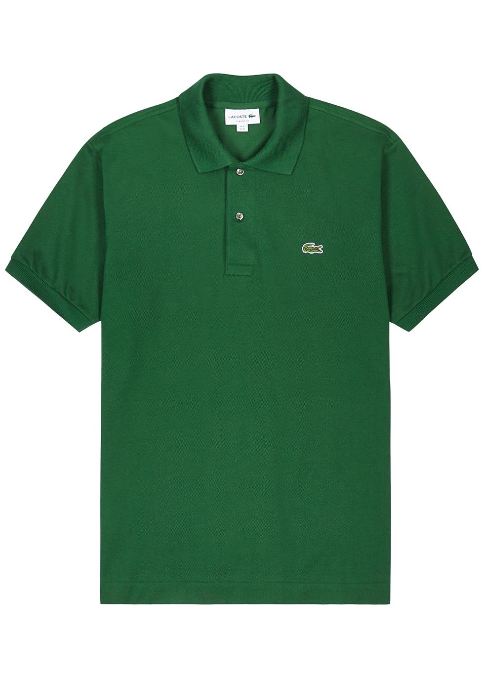 Green piqué cotton polo shirt