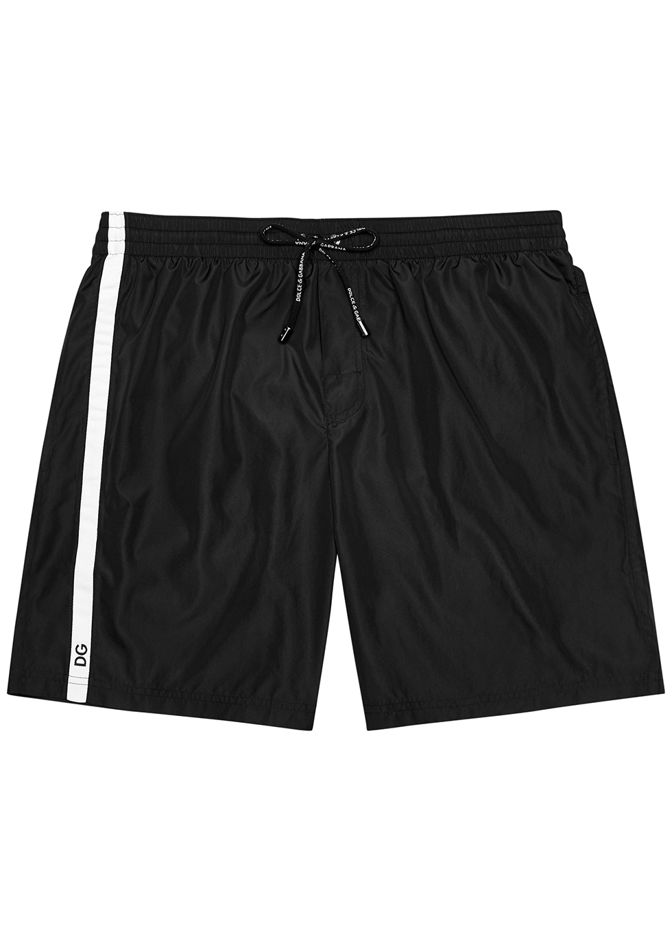 Black striped swim shorts