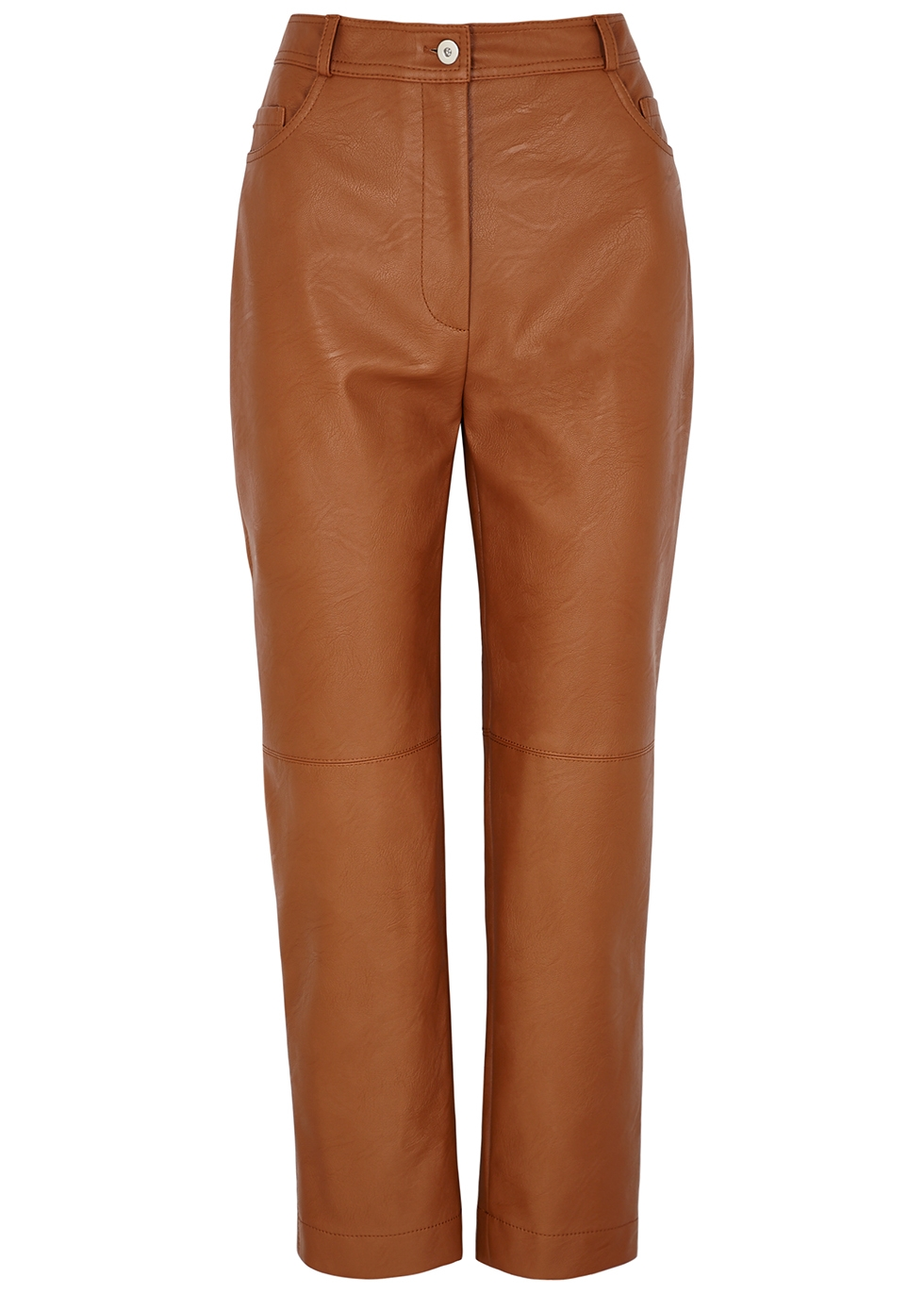 Hailey brown faux leather trousers