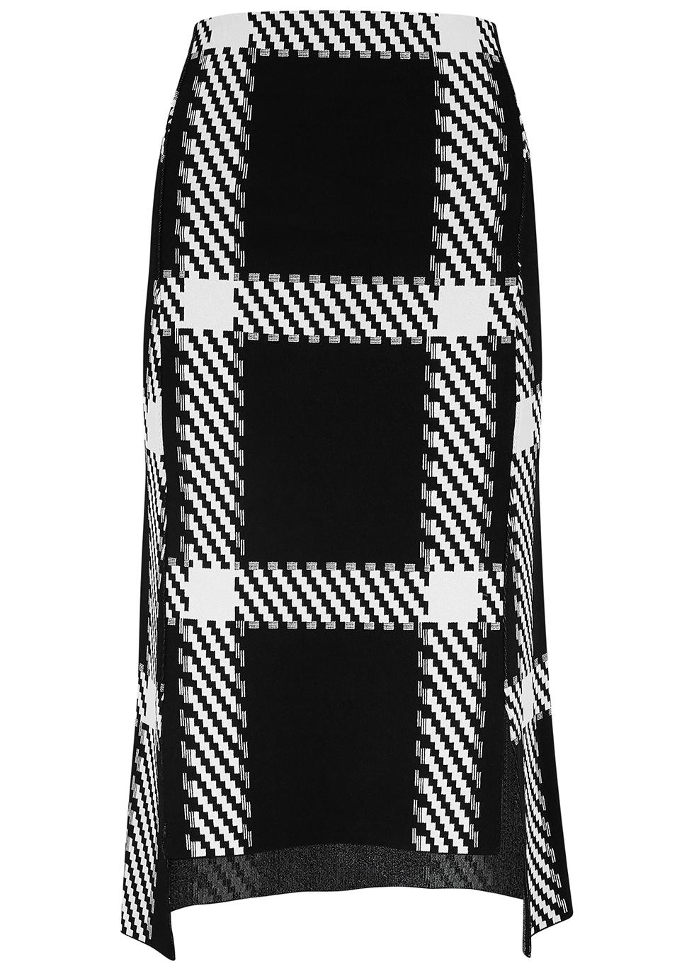 Monchrome checked stretch-knit midi skirt